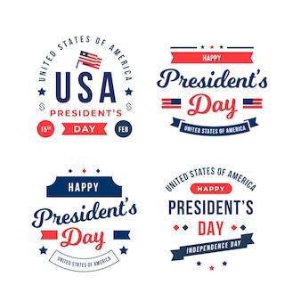 Conjunto de emblemas do dia do presidente