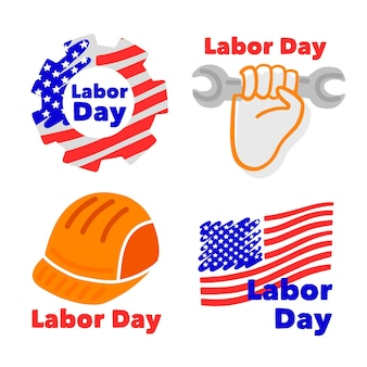 Conjunto de emblemas do dia do trabalho dos eua