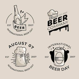 Conjunto de emblemas do dia internacional da cerveja