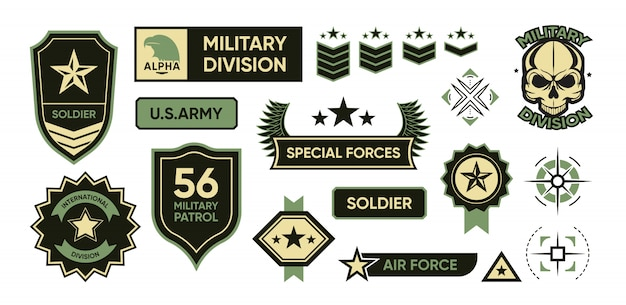 Conjunto de emblemas do exército