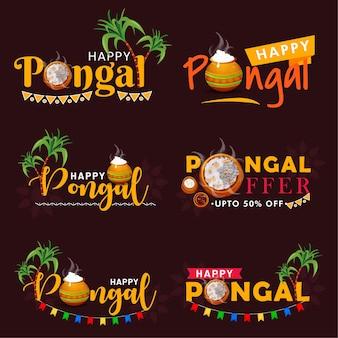 Conjunto de emblemas do festival indiano pongal feliz.