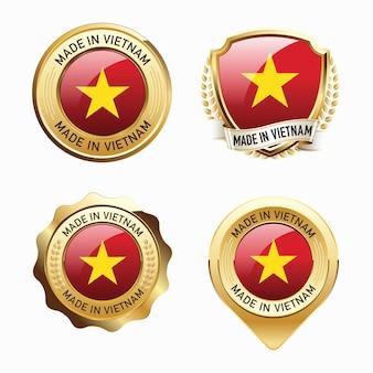 Conjunto de emblemas do made in vietnam