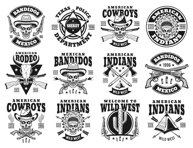 Conjunto de emblemas do oeste selvagem com caveira de cowboy