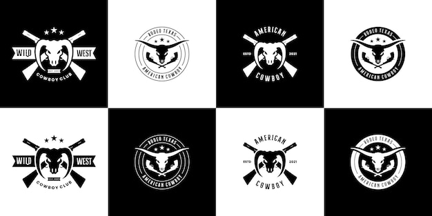 Conjunto de emblemas do oeste selvagem do texas, design de logotipo de cowboy vintage