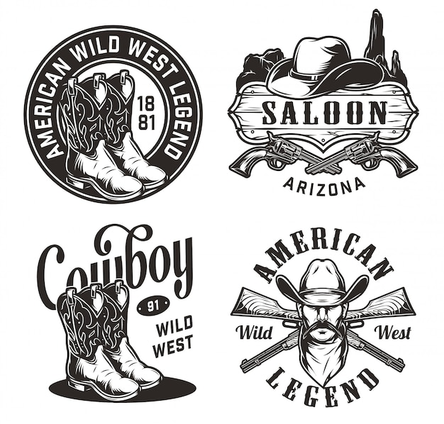 Conjunto de emblemas do oeste selvagem vintage
