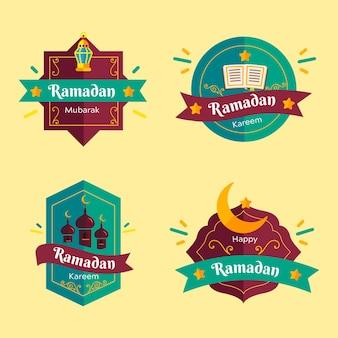 Conjunto de emblemas do ramadã design plano
