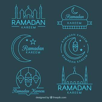 Conjunto de emblemas do ramadã em monolines