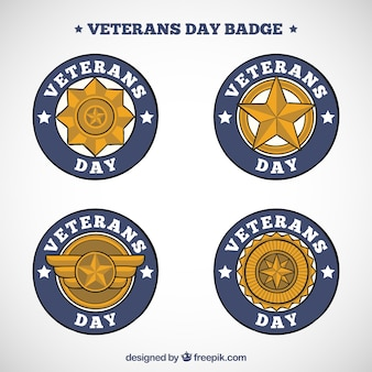 Conjunto de emblemas dourados do dia dos veteranos