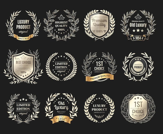 Conjunto de emblemas dourados