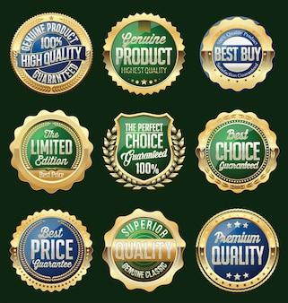Conjunto de emblemas e adesivos de vendas