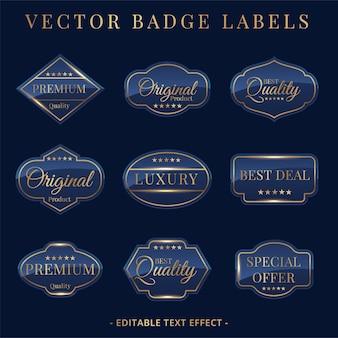 Conjunto de emblemas e adesivos dourados de luxo
