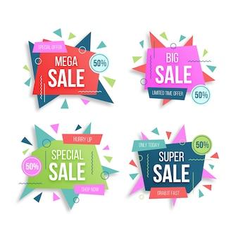 Conjunto de emblemas e banner de vendas especiais