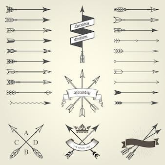 Conjunto de emblemas e brasões com flechas, selos heráldicos - brasão de armas