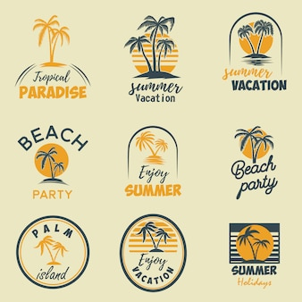 Conjunto de emblemas e elementos de verão. elemento de design de logotipo, etiqueta, cartaz, impressão, cartão, banner, sinal. imagem