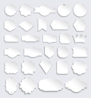 Conjunto de emblemas e etiquetas de etiquetas de papel