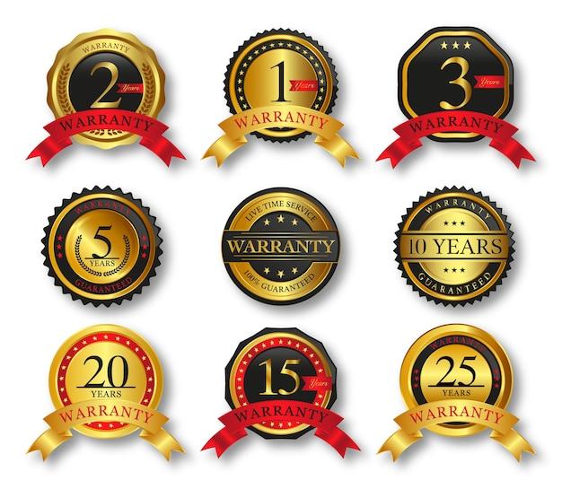 Conjunto de emblemas e etiquetas de selo dourado com fita de qualidade premium