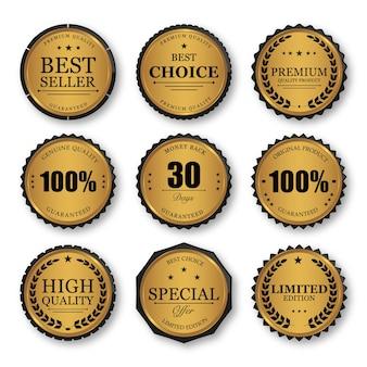 Conjunto de emblemas e etiquetas de selo dourado de qualidade premium