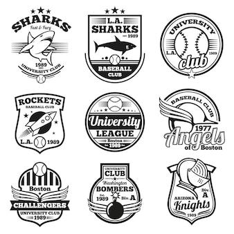 Conjunto de emblemas e etiquetas esportivas universitárias,