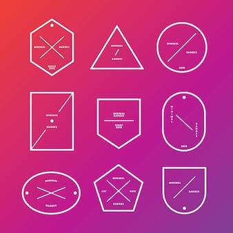 Conjunto de emblemas e etiquetas mínimas