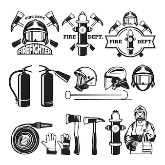 Conjunto de emblemas e etiquetas para o corpo de bombeiros. emblema de bombeiro e bombeiros, ilustração