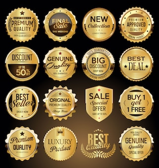 Conjunto de emblemas e etiquetas premium dourado