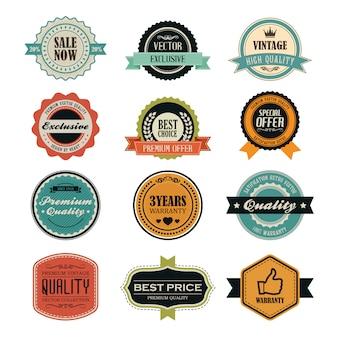 Conjunto de emblemas e etiquetas vintage retrô