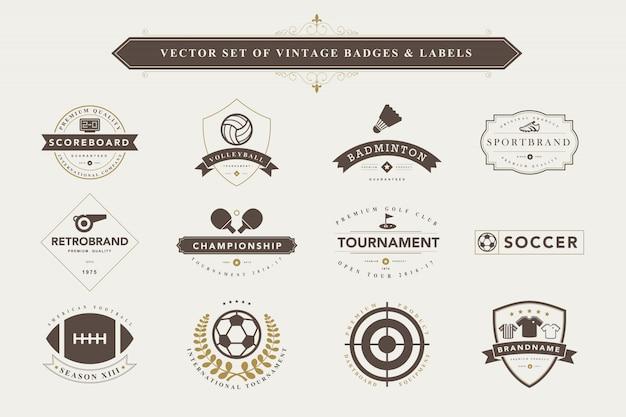 Conjunto de emblemas e etiquetas vintage.