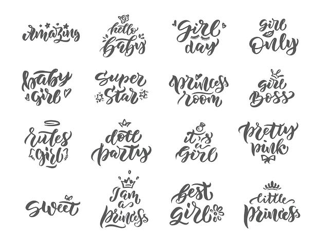 Conjunto de emblemas e frases vintage da princesa alway.