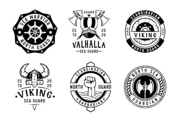 Conjunto de emblemas e logotipo de etiquetas de viking
