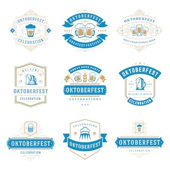 Conjunto de emblemas e logotipos da oktoberfest