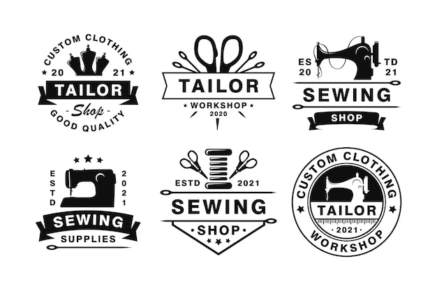 Conjunto de emblemas e logotipos de alfaiataria vintage