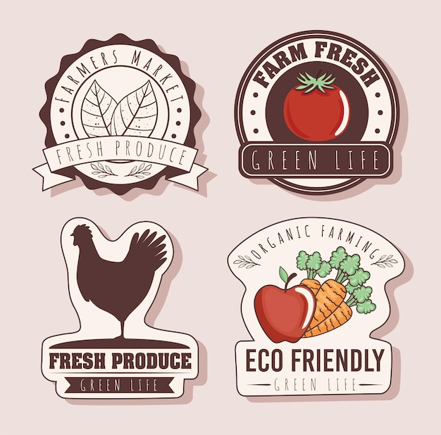 Conjunto de emblemas ecológicos
