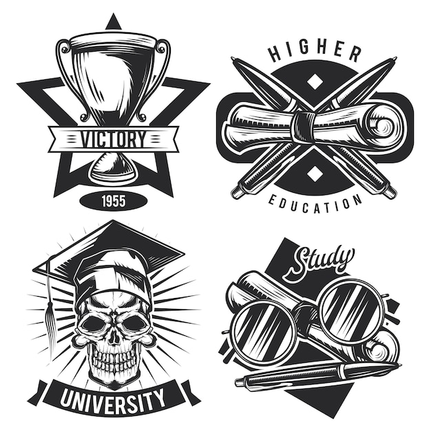Conjunto de emblemas educacionais vintage