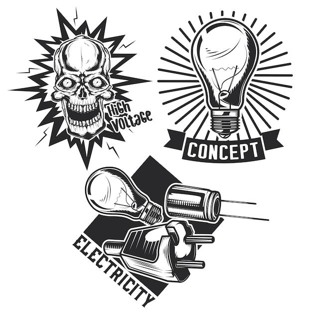 Conjunto de emblemas elétricos antigos