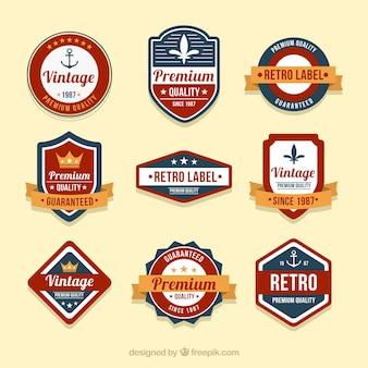 Conjunto de emblemas em estilo vintage