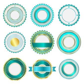 Conjunto de emblemas, etiquetas e adesivos sem texto. na cor turquesa.