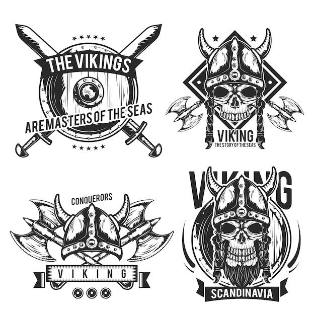 Conjunto de emblemas, etiquetas, emblemas e logotipos de viking. isolado no branco