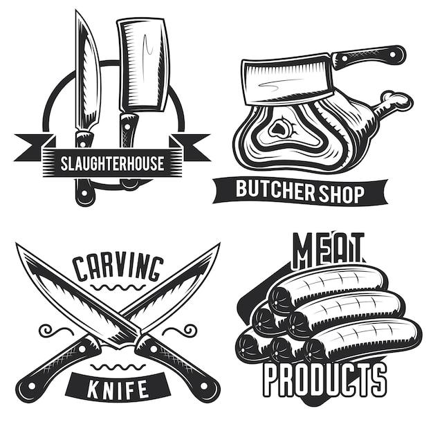 Conjunto de emblemas, etiquetas, emblemas, logotipos de material de açougueiro.