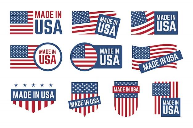 Conjunto de emblemas feitos nos eua