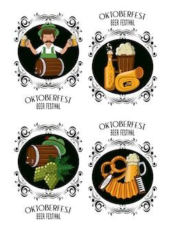 Conjunto de emblemas festival de outubro