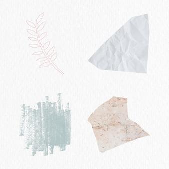 Conjunto de emblemas florais e abstratos