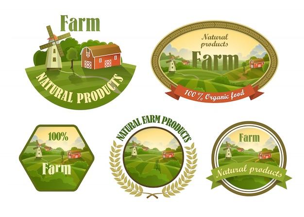 Conjunto de emblemas frescos de fazenda