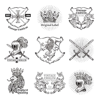 Conjunto de emblemas heráldicos