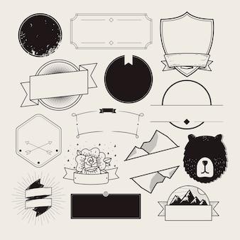 Conjunto de emblemas ilustrados