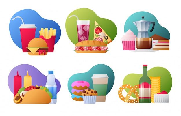 Conjunto de emblemas lisos coloridos na moda de fast-food.