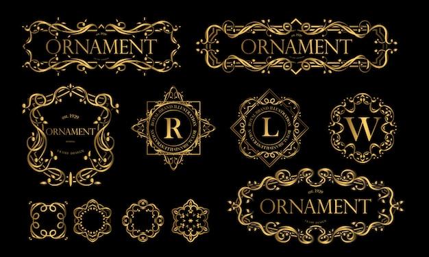 Conjunto de emblemas luxuosos com cor dourada