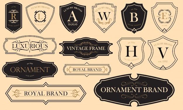 Conjunto de emblemas luxuosos