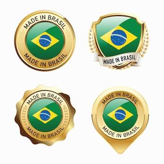 Conjunto de emblemas made in brasil