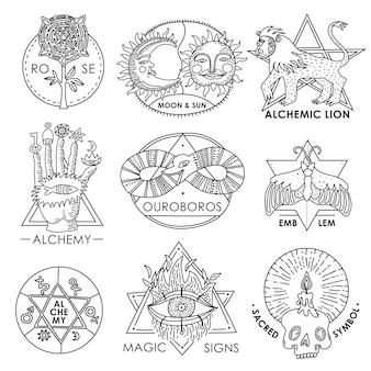 Conjunto de emblemas mágicos mão desenhada