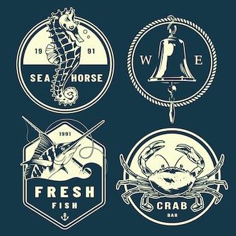 Conjunto de emblemas marinhos monocromático vintage